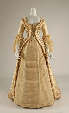 Wedding Dress  1880s.  So similar to late 18th cent.  Sleeves are like J.'s ballgown's sleeves.