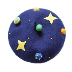 Items similar to Christmas gift Wool beret with Needle planet,Needle Felted hat pattern,handcraft navy blue beret,Blue sky with star on Etsy Kawaii Accessories, Head Accessories, Wool Berets, Mode Chic, Cute Hats, Kawaii Clothes, Felt Hat, Kawaii Fashion, Needle Felting