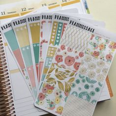 "Floral Planner Sticker Weekly Full Kit ""Cecelia"" Red, Blue, Green, Yellow Vertical Erin Condren Style Stickers, Happy Planner"