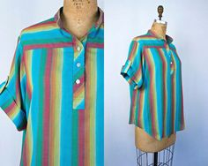 VINTAGE 1970s beach vibes striped cotton blouse | Pullover tunic surf shirt | Size medium