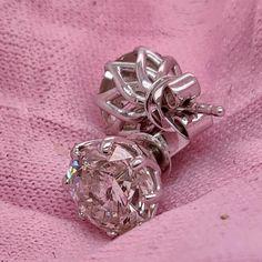 Studs Diamond Earrings, 4 Carat Studs, Flourish #14kwhitegold #diamondearrings #bridalearrings #weddingearrings #fineearrings #genuinediamonds #6prongsearrings #engagementearrings #solitaireearrings #diamondstuds #bridesmaidearrings #pushbackearrings #4caratdiamonds