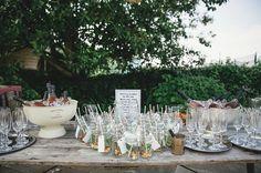 Organic Farm Stone Circle Wedding Drinks Table http://www.kat-hill.com/