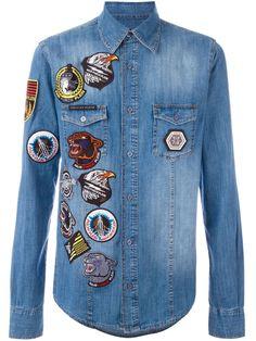 Philipp Plein Camisa jeans com aplicações