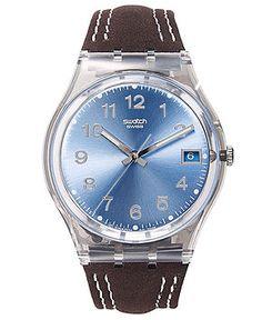 Swatch Watch, Unisex Swiss Blue Choco Brown Leather Strap 34mm GM415 - Women's Watches - Jewelry & Watches - Macy's