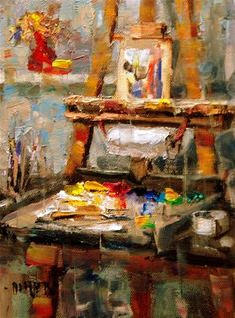 """""""My Easel"""" - Original Fine Art for Sale - © Julie Ford Oliver"""