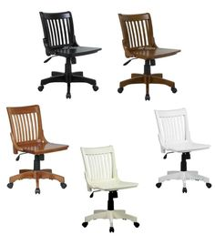 Marvelous Lacquered Finish Mission Style Armless Banker Wood Swivel Desk Task Office  Chair #OfficeStar