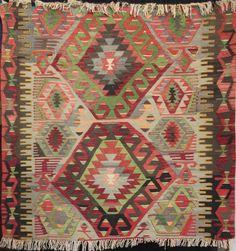 Teppiche - Medium Anatolian Ushak Turkish wool kilim rug - ein Designerstück von Tribal-rugs-and-kilims bei DaWanda