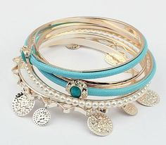 fashion multilayer Pearl Bracelet ( light blue ) for $9 Only! Shop Now! for order queries inbox us at https://www.facebook.com/Glamourforgirls or email us at glamourous_girls@hotmail.com