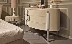 Chests of Drawers - SUEDE UPHOLSTERED CHEST OF DRAWERS ART NC230