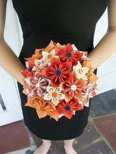 origami flower and button bouquet