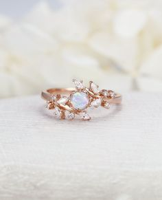 Rose gold engagement ring Diamond Cluster ring Unique Opal engagement ring Delicate leaf wedding women Bridal set Promise Anniversary Gift All our dia Wedding Rings Simple, Wedding Rings Vintage, Unique Rings, Wedding Jewelry, Opal Wedding Rings, Unique Promise Rings, Delicate Rings, Opal Promise Ring, Leaf Wedding Band