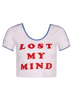 Lost My Mind Crop T-Shirt  http://www.lazyoaf.com/womens-tops/c22_26/p2892/lazy-oaf-mindfull-bodycon-t-shirt/product_info.html