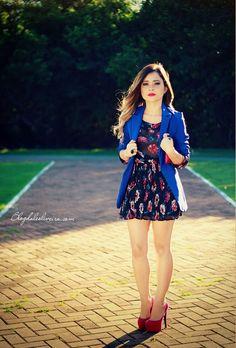 LOOK FLORAL E BLAZER AZUL - Ligada na Moda