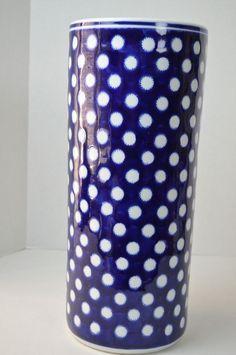 Porcelain Umbrella Stand White Blue Polka Dots 18 inch Walking Sticks #Unbranded