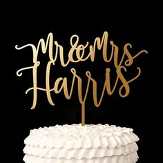 Custom Last Name Wedding Cake Topper Blissful by BetterOffWed
