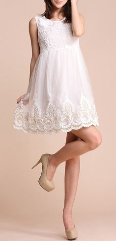 White Sleeveless Flower Embroidery Gauze Short Dress ♥