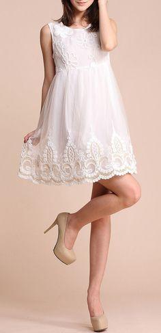 White Sleeveless Flower Embroidery Gauze Short Dress ♥