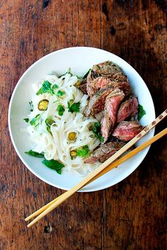 Grilled Chimichurri Steak with Rice Noodles and Nuoc Cham /
