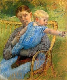 Mathilde Holding A Baby Who Reaches Out, Mary Cassatt