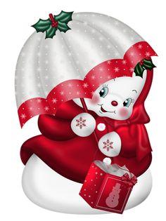Vintage Christmas Snowman w Clear Bubble Umbrella Gif Christmas Clipart, Vintage Christmas Cards, Christmas Printables, Christmas Pictures, Christmas Snowman, Christmas Holidays, Christmas Crafts, Merry Christmas, Christmas Decorations
