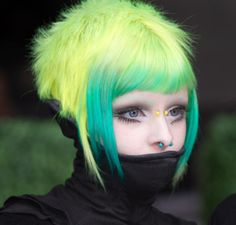 #hair #dyed #neon #pastel #nu goth #iska ithil #yellow #turquoise  #green #alternative #fashion