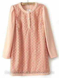 Pink Round Neck Long Sleeve Hollow Embellished Dress -$32.09