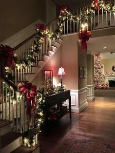 Beautiful stairwell with Christmas decorations.