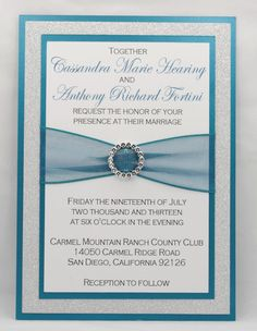 DIY - Print At Home - Stunning Teal & Silver Glitter Wedding Invitation Kit - Full of Bling, Sparkle, and Dazzle. $3.35, via Etsy.