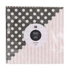 Servietten rosa/schwarz 33x33cm 20 Stück, idee-shop.com