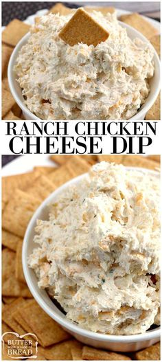 Ranch Chicken Cheese dip will knock your socks off! Only four basic ingredients needed and only takes a few minutes to whip up for your next get together! Easy ranch dip recipe with chicken from Butter With A Side of Bread (Breaded Ranch Chicken) Yummy Appetizers, Appetizers For Party, Appetizer Recipes, Snack Recipes, Cooking Recipes, Chip Dip Recipes, Party Dips, Milk Recipes, Ranch Dip Recipes