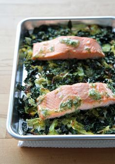 Get your greens in with this easy one-pan meal of salmon with cabbage and kale.