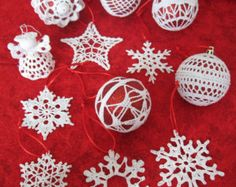 Two Handmade Exquisite Crochet Christmas by PascalesCraftAtelier