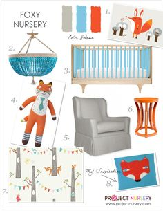2014 is totally the year of the fox (in the nursery, at least!) - here's a design board for a nursery featuring this furry friend! #nursery #designboard #fox