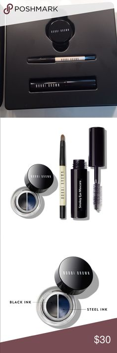 Bobbi brown graphic liner set Bobbi brown on trend graphic liner set. It includes long wear gel liner in black ink & steel ink, mini ultra fine eye liner brush and Smokey eye mascara. Great for giving as a gift or being able to try before you buy full sizes. Bobbi Brown Makeup Eyeliner