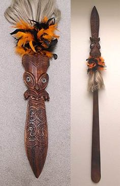 "Hand carved Koa wood, ""Maori Taiaha Weapon"" Richard M. Howell"