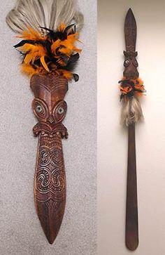 "Hand carved Koa wood, ""Maori Taiaha Weapon"" Richard M. Wood Carving Designs, Wood Carving Art, Bone Carving, Abstract Sculpture, Sculpture Art, Metal Sculptures, Bronze Sculpture, Maori Tribe, Maori Designs"