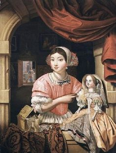 1690s Evert Collier Edwaert Collier (1642-1708) Young Woman Holding a Doll in an Interior with a Maid Sweeping Behind