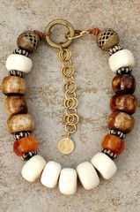 Kenyan Batik Brown and White Bone, Amber Resin, African Brass and Leather Choker-Style Necklace