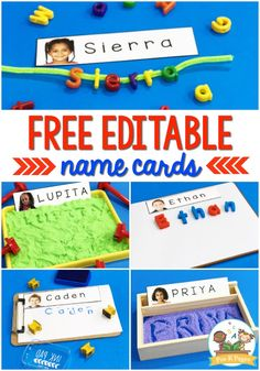 Editable Name Cards with Student Pictures - Pre-K Pages Preschool Name Recognition, Name Activities Preschool, Preschool Special Education, Free Preschool, Preschool Printables, Kids Learning Activities, Learning Letters, Classroom Activities, Classroom Ideas