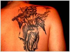 grim reaper tattoos with violin azrail dövmeleri