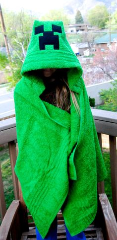 Minecraft Creeper Hooded bath towel MelissasStitches, $35.00