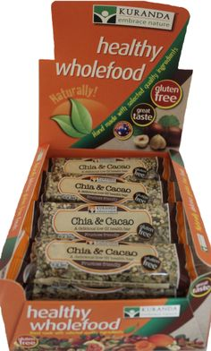 NEW LOOK Kuranda Chia & Cacao wholefood health bars. Gluten Free, Dairy Free, Wheat Free, Low GI, Low Carbs and a No Nut and No Fruit recipe! Want to know more? head over to www.aussiehealthsnax.com.au and check out Chia Health Bars for your flavour options mmmmmmm