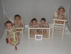 Ltd Doll Stamp & 1930's Madame Alexander Dionne Quintuplets Doll Set & Furniture