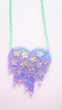Colar de Coração com Glitter