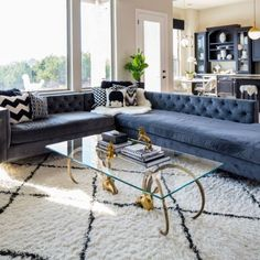 Elegant family living room with blue sectional