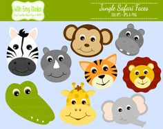 Jungle Animals Digital Clipart, Safari Animals Digital Clipart, Zoo Animals Clipart, Animal Faces, Commercial Use