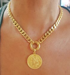 Gold coin choker - large coin pendant choker - statement boho choker - cuban links choker -bohemian hippie jewelry for her gold coin necklacelarge coin chain necklacestatement boho Gold Coin Necklace, Coin Jewelry, Jewelry For Her, Gold Choker, Jewelry Shop, Gold Coin Ring, Choker Jewelry, Cheap Jewelry, Fashion Necklace