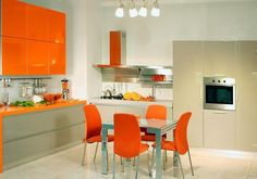 modern kitchens and decor in orange color