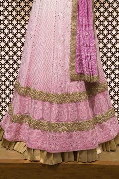 Ada #handembroidered #pink Shaded #puregeorgette  #lucknowi  #chikankari #lehenga  Set- A277800