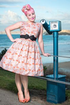 1950's Style Grey Flamingo Dress - Silly Old Sea DogSilly Old Sea Dog